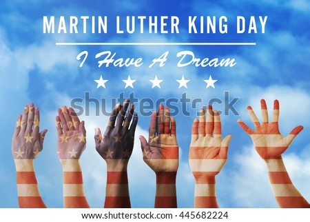 Martin Luther King Day. Different hands on blue sky background