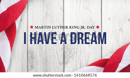 Martin Luther King Jr. Day I Have A Dream Typography Over Wood Background Stockfoto ©