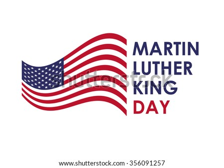 Martin Luther King Jr. Day. The biggest fighter for the human rights of African-Americans in the world. Holiday background. Festive card. Festive illustration. White background with the American flag