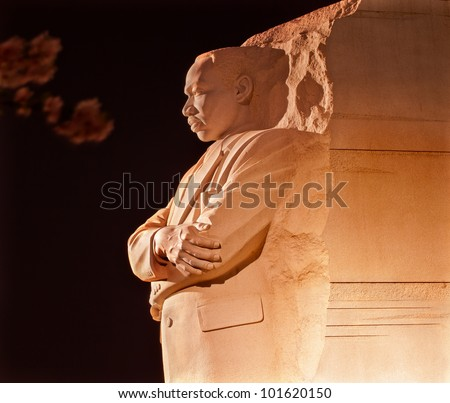 Martin Luther King Jr. Memorial Statue Cherry Blossoms Evening Washington DC Sculptor is Lei Yixin