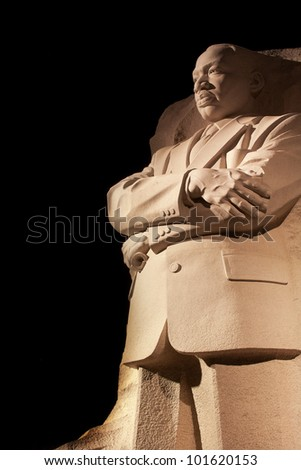 Martin Luther King Jr. Memorial Statue Venus, Jupiter and Stars Night Washington DC Sculptor is Lei Yixin
