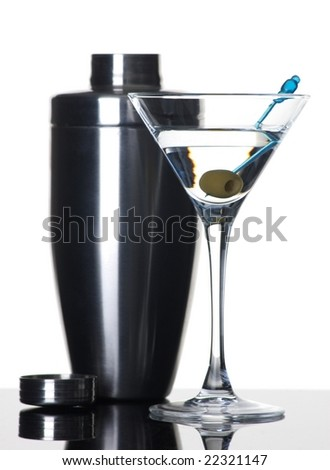 Martini and shaker on white background