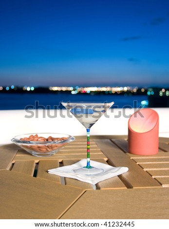 Martini by the bay with shallow depth of field