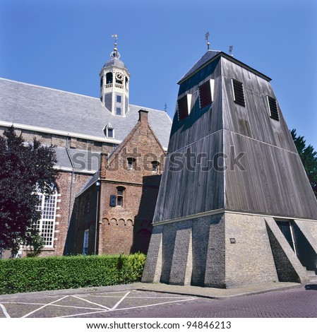 Martini church with separate belfry in Sneek, Friesland , Holland