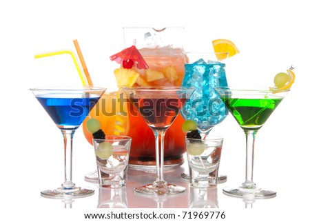Martini cocktail, Blue hawaiian Malibu, Sex on the beach, tequila shots; margarita drink and decanter mulled wine sangria on the back. Cocktails variation types with decoration - stock photo