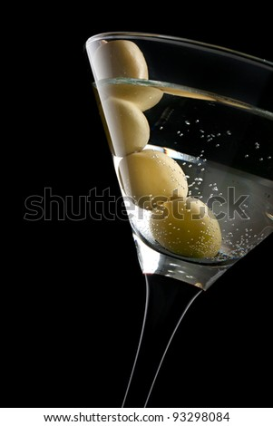 Martini cocktail with olive