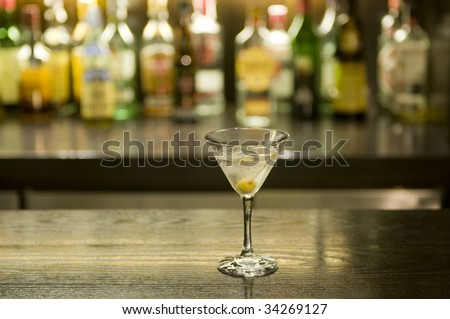 Martini drink cocktail in a bar