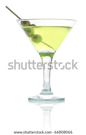 martini glass with olive isolated