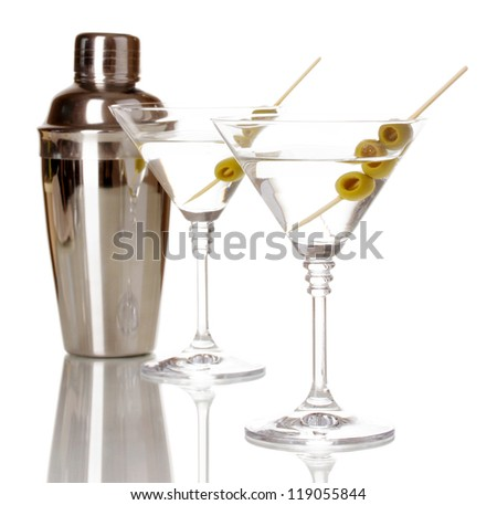 Martini glasses with olives and shaker isolated on white