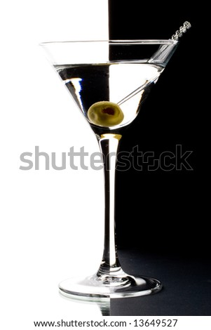 Martini in a glass on black and white background