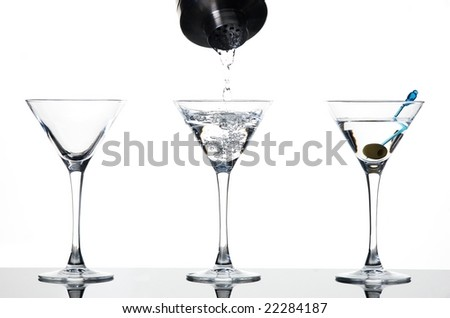 Martini pouring - stock photo