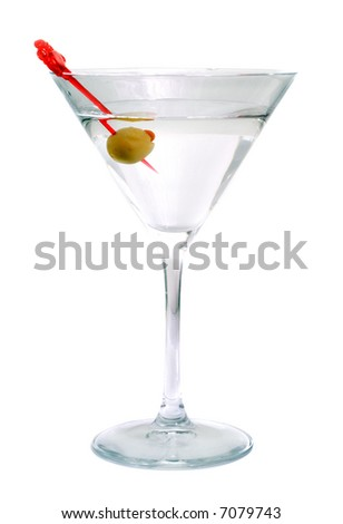 Martini with an olive. Isolation on white