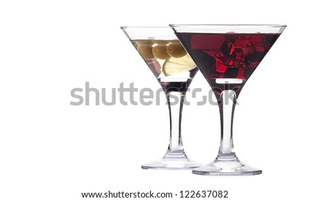 martini with olive and ice set - fresh cocktail isolated on a white background - stock photo
