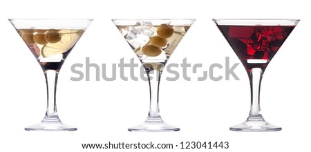 martini with olive and ice set - fresh cocktail isolated on a white background