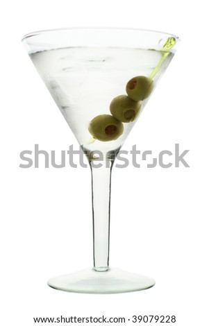 martini with olive, white background