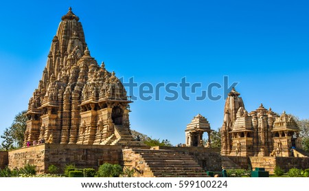 Marvelous architecture details of ancient Khajuraho temple