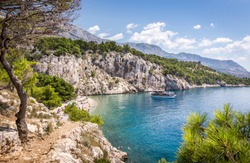 Marvelous Nugal beach near Makarska village, beautiful Mediterranean seascape