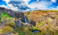 Marvelous view of  Kolugljufur canyon and Kolufossar falls. Kolugljufur gorge is located on river Vididalsa.  Location: Kolugljufur canyon, Vestur-Hunavatnssysla, Iceland, Europe