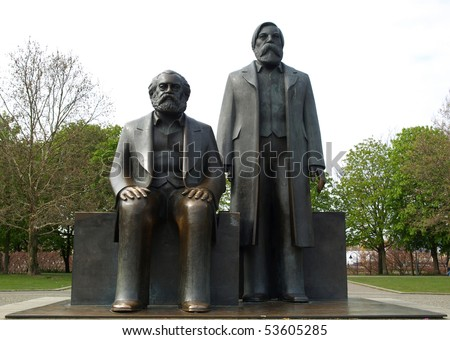 Marx and Engels statue in Marx-Engels-Forum, Alexanderplatz, Berlin - stock photo
