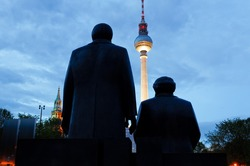 Marx Engels Forum with the TV tower at night in Berlin, Germany