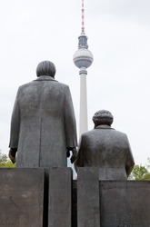 Marx Engels Forum with the TV tower in Berlin, Germany
