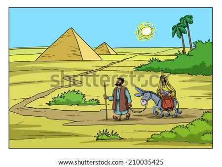 Mary and Joseph run away to Egypt Christmas story