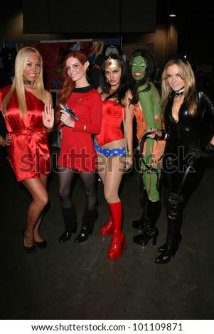 Mary Carey, Phoebe Price, Wonder Woman, Alicia Arden and Paula Labaredas  at Long Beach Comic-Con Day 2, Long Beach Convention Center, Long Beach, CA. 10-30-10