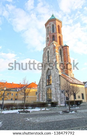 Mary Magdalene tower, Castle district in Buda,  Budapest,Hungary. - stock photo
