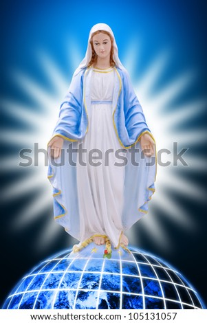 Mary on earth : Elements of this image furnished by NASA