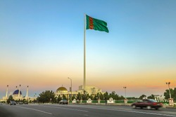 Mary Turkmenistan Turkmen National Flag on Flagpole Square