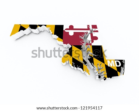 maryland state flag on 3d map
