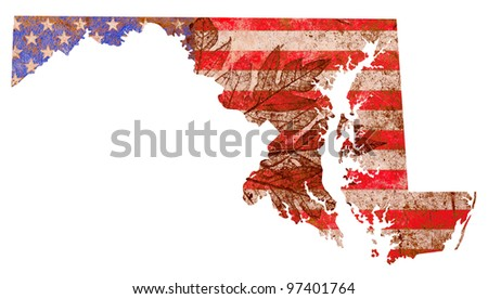 Maryland state of the United States of America in grunge flag pattern isolated on white background