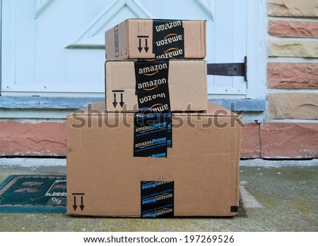 MARYLAND USA JUNE 3 2014 Image of an Amazon packages Amazon is an online company and is the largest retailer in the world