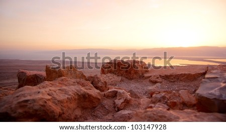 Masada fortress and Dead sea sunrise in Israel judean desert tourism