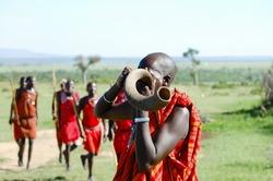 Masai Kudu Horn Blowing - Kenya