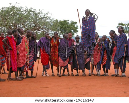 MASAI VILLAGE - DECEMBER 01: Massai welcome dance - village (museum) for tourists, in the vicinity of Mombasa - about 100 km -  road towards the Tsavo East National Park - December 01, 2007 in Kenya