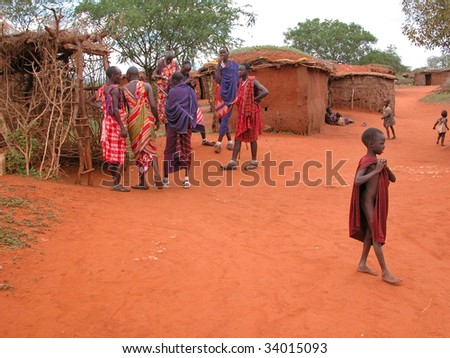 MASAI VILLAGE - DECEMBER 01: natives village masai - museum for tourists, in the vicinity of Mombasa - about 100 km - road towards the Tsavo East National Park - December 01, 2007 in Kenya