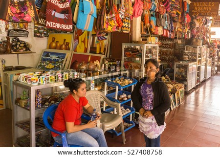 Masaya, Nicaragua   August 27, 2016: Artisan local tourist market from Masaya . The best place to buy souvenirs #527408758