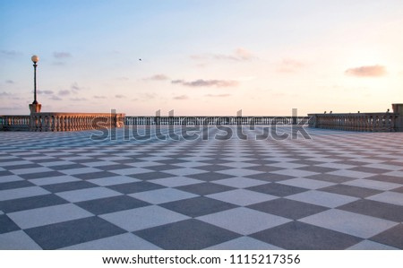 Mascagni Terrace at sunset in Livorno, Tuscany, Italy