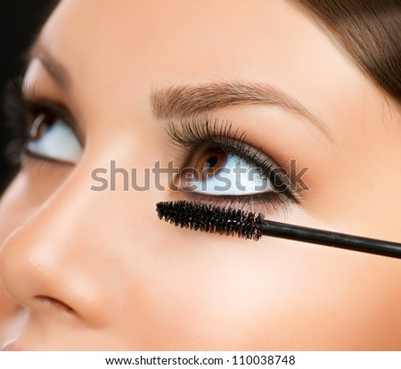 Mascara Applying. Makeup Closeup.Eyes Make-up