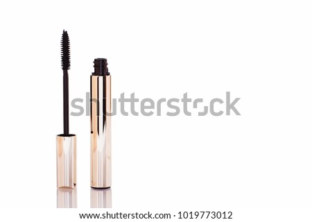 1d5a78b61ab Mascara Bottle and Brush. Fashionable cosmetics Makeup for Eyes, Black  Mascara wand and Tube