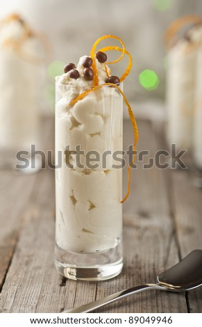 Mascarpone white chocolate mousse with orange zest