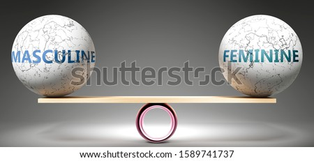 Masculine and feminine in balance - pictured as balanced balls on scale that symbolize harmony and equity between Masculine and feminine that is good and beneficial., 3d illustration Foto d'archivio ©
