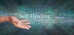 Masculine Self Help Healing Word Tag Cloud - male open hand with the words SELF HEALING and a relevant word cloud against dark  green radiating gaseous effect background