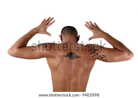 Masculine Young man showing his muscles and his tattooed back - isolated over white!