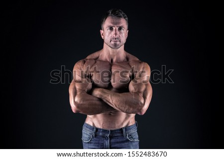 Masculinity and sport. Improve yourself. Man muscular athlete. Macho handsome with muscular torso. Attractive guy muscular body. Proud of excellent shape. Healthy and strong. Bodybuilder concept.
