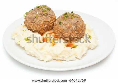 mashed potatoes and meatballs isolated