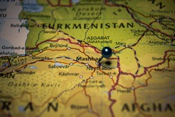 Mashhad, the city in Iran pinned on geographical map