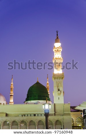 Masjid Al Nabawi or Nabawi Mosque (Mosque of the Prophet) at sunrise in Medina (City of Lights), Saudi Arabia.Nabawi mosque is Islam's second holiest mosque after Haram Mosque (in Mecca, Saudi Arabia)
