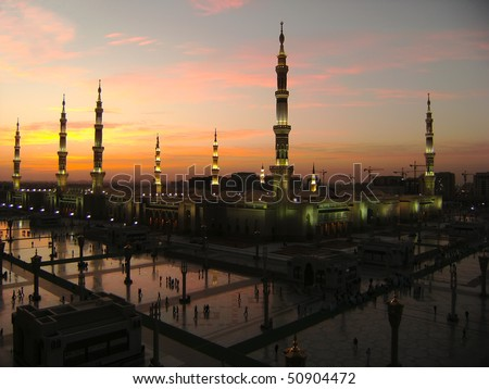 Masjid Al Nabawi or Nabawi Mosque Mosque of the Prophet in Medina City of Lights Saudi Arabia at dawn.